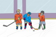 Extracurricular Activities for Kids: Are They Worth the Price? | Art by Jonan Everett | Cartoon of kids at hockey camp