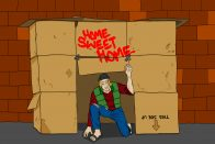 living at home vs. living in a cardboard box | Art by Jonan Everett