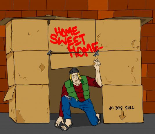 living at home vs. living in a cardboard box   Art by Jonan Everett