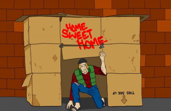 living at home vs. living in a cardboard box | Art by Jonan Everett