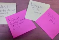 8 Ways to Pay Off Student Loans Earlier | Post-it notes with different types of student loans written on them | Photo by Evan Sachs