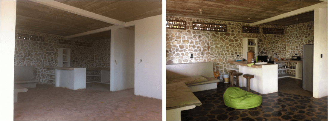 My kitchen and living room during and after the building process