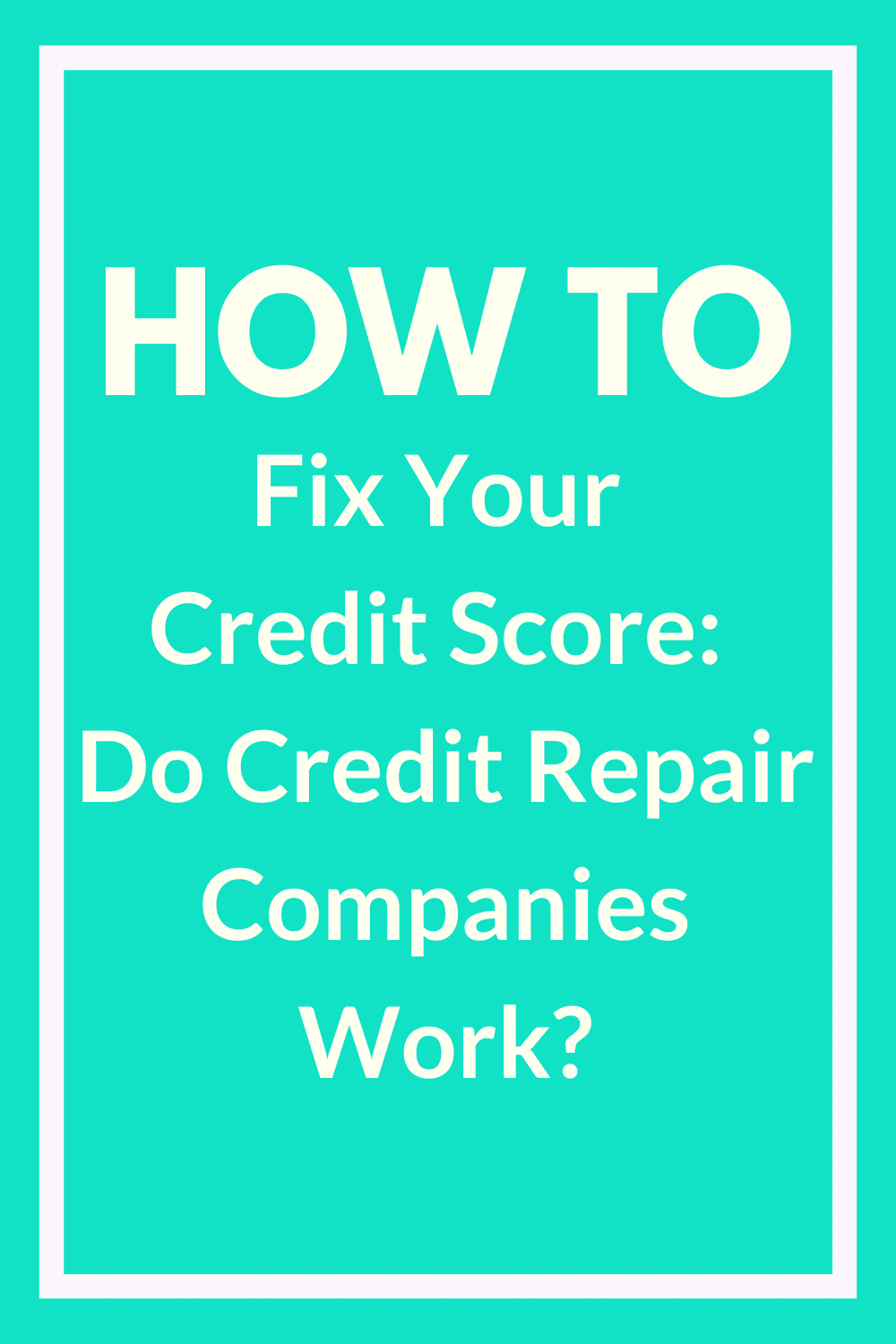 How to Fix Your Credit Score: Do Credit Repair Companies Work? So your credit's tanked and you don't know what to do. You've seen ads for companies that help you fix your credit, but do they work? Find out how to fix your credit score without losing your mind — or your money.