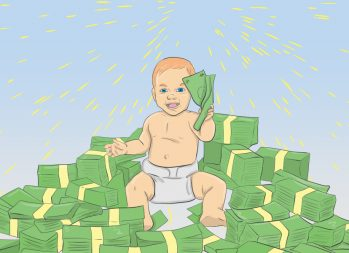 Cost of Raising a Child: 6 Ways to Save Money in Year 1 - art by Jonan Everett