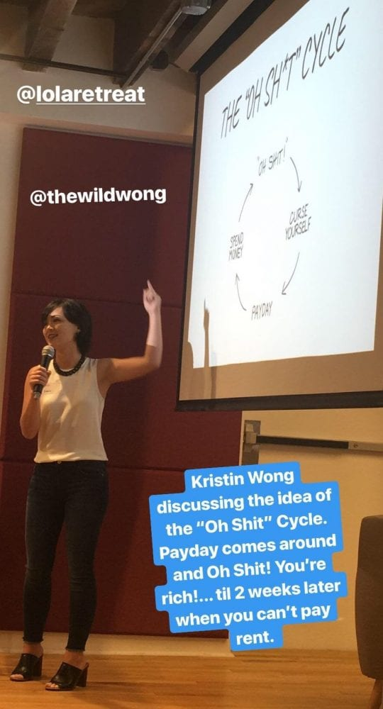 Kristin Wong speaks at the Lola Retreat in 2018