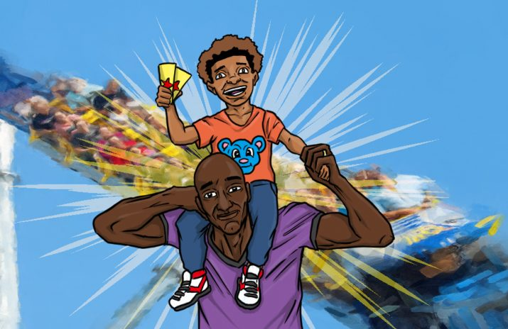 Season Pass - dad with son at theme park | Art by Jonan Everett