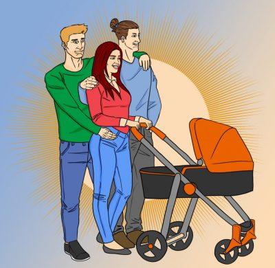 Polyamorous family with children | Art by Jonan Everett
