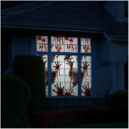 27 Cheap Halloween Party Ideas for Under $27: Bloody window and door decals