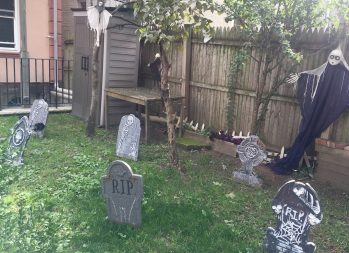 27 Cheap Halloween Party Ideas for Under $27 | Photo of a backyard decorated for Halloween | Photo by Emma Finnerty