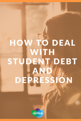 How to Deal With Student Debt and Depression. Are you drowning in student loan debt? Is your mental health suffering because of it? Learn how to deal with student debt and depression. #studentloandebt #studentloans #studentloanspayingoff