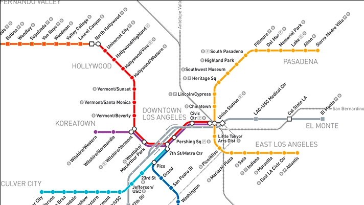 Things to do in L.A.: map of the L.A. metro