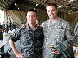 Army Veteran turned real estate entrepreneur: Kirby Atwell (right) and Chikara Komiyama, a captain in the Japanese Air Self Defense Force (JASDF)
