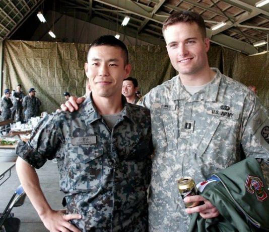 Army Veteran turned real estate entrepreneur: Kirby Atwell (right) and Chikara Komiyama, a captain in the Japanese Air Self Defense Force (JASDF)