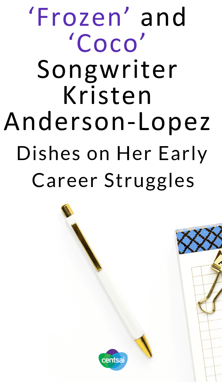 "'Frozen' and 'Coco' Songwriter Kristen Anderson-Lopez Dishes on Her Early Career Struggles. Kristen Anderson-Lopez, one of the songwriters behind ""Frozen"" and ""Coco,"" talks about her early career struggles and shares some advice. #career #entertainment"