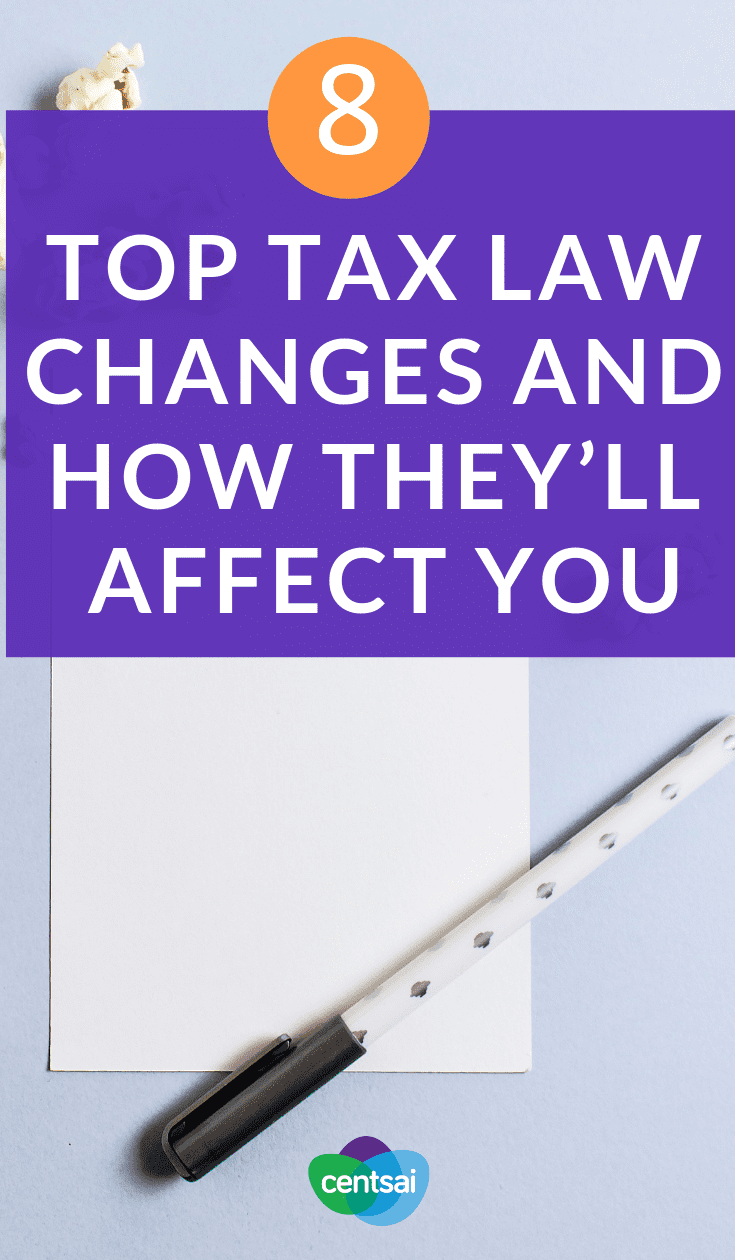 8 Top Tax Law Changes and How They'll Affect You. Don't let your taxes bite you in the butt later. Make sure you know how the tax law changes will affect you before you miss something. #taxes #taxestips #tax