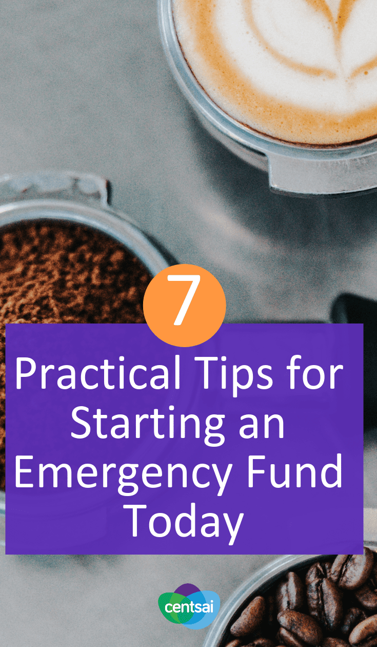 7 Practical Tips for Starting an Emergency Fund Today. While many people recognize the importance of an #emergencyfund they find it challenging to build one. Here are 7 great steps to get started. #savingtips #frugaltips #savingmoney