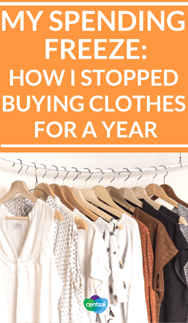 My Spending Freeze: How I Stopped Buying Clothes for a Year. A spending freeze challenge can be a great way to save money, but could you stop buying clothes for a whole year? Check out how this one woman did it and you can actually do this too! #savingtipsmoney #savingtips #savingtipsbudget #frugalitylifestyle #frugalitytips