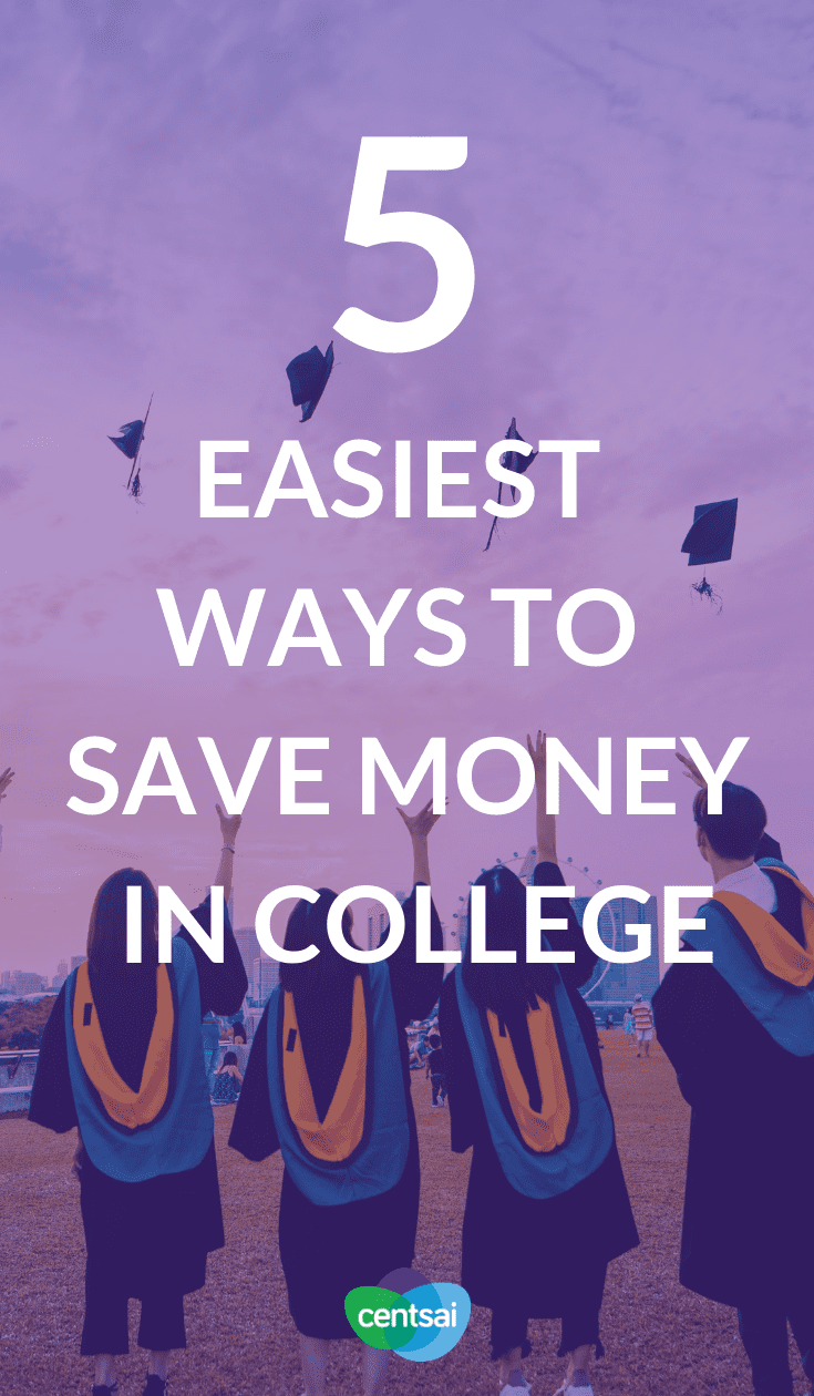 5 Easiest Ways to #SaveMoney in College. College is expensive even before you factor in textbooks, food, a social life ... But you can cut costs. Learn how to save money in college. #savemoneyincollege #savingtips #savemoneytips #savemoneycollegetips