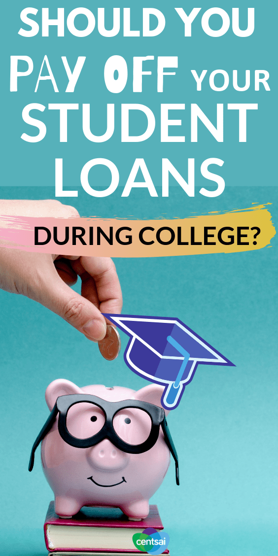 Should you pay off your student loans during college to get them out of the way sooner? Check out the pros and cons here! #managingmoney #howtomakeextramoney #extraincomeideas