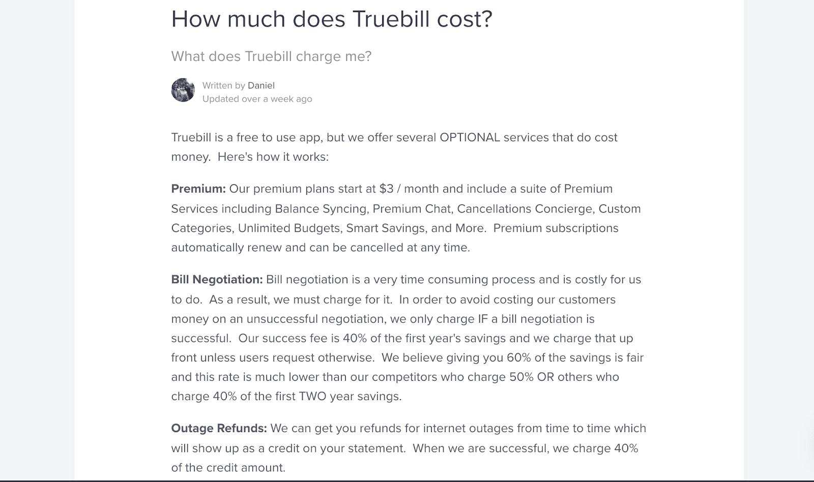Truebill cost