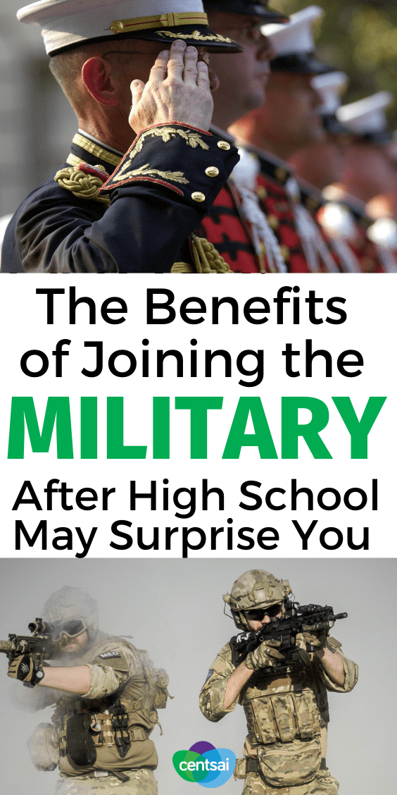 Not sure if you should go straight to college? Or if you can afford it? Check out the benefits of joining the military after high school. #CentSai #military #career