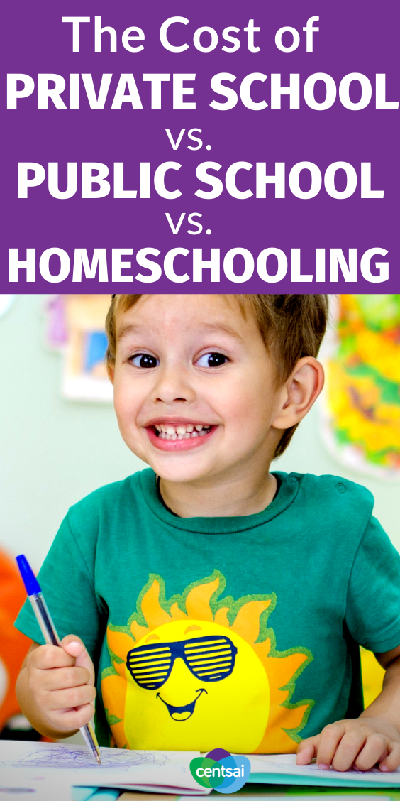 Compare the cost of private school vs. public school vs. homeschoolin so that you can make the best choice for your family. How can you assess the cost of a primary-school education in the context of the benefits provided? Here's how we broke it down. #School #Tips #hacks #CentSai #budgeting