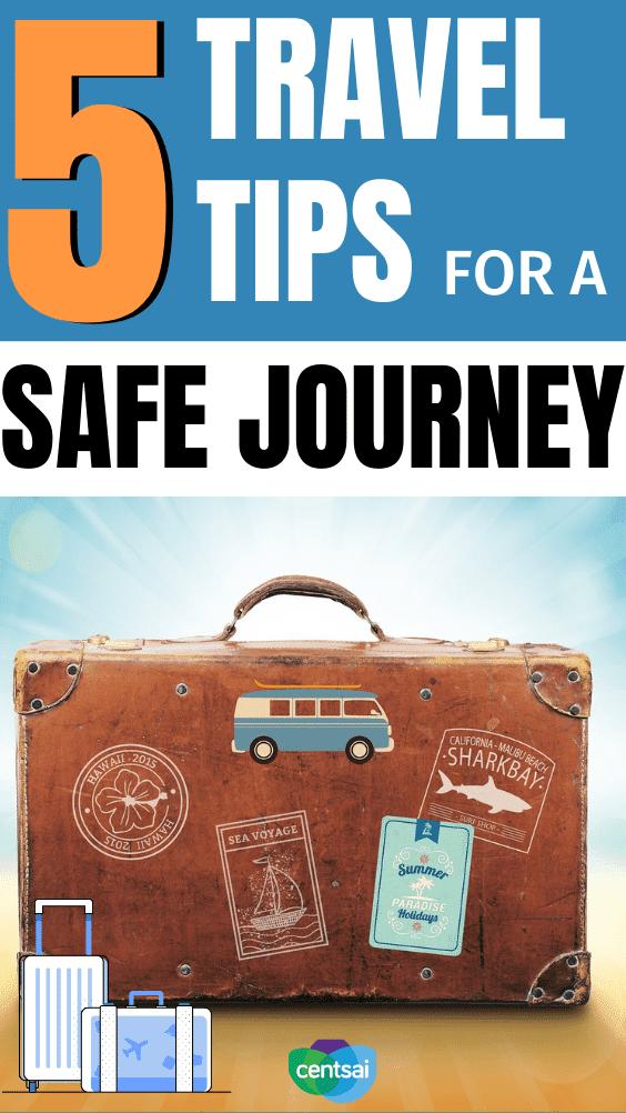 5 consejos de viaje para un viaje seguro. No siempre es fácil saber cómo viajar de forma segura durante la temporada navideña. ¡Aquí tienes cinco consejos que te ayudarán en tu viaje! #CentSai #traveltips #safetraveltips #travel #travelideas